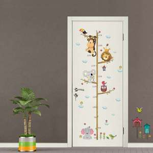 Wall-Stickers Animal Home Cartoon Decal Removable Room-Decoration Height-Measure Kindergarten