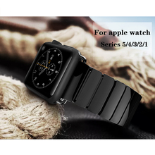 Ceramics strap for apple watch 5 4 band 44mm 40mm apple watch band 42mm 38mm iwatch 5/4/3/2/1 belt Butterfly Buckle bracelet white ceramics band design mens leisure watch