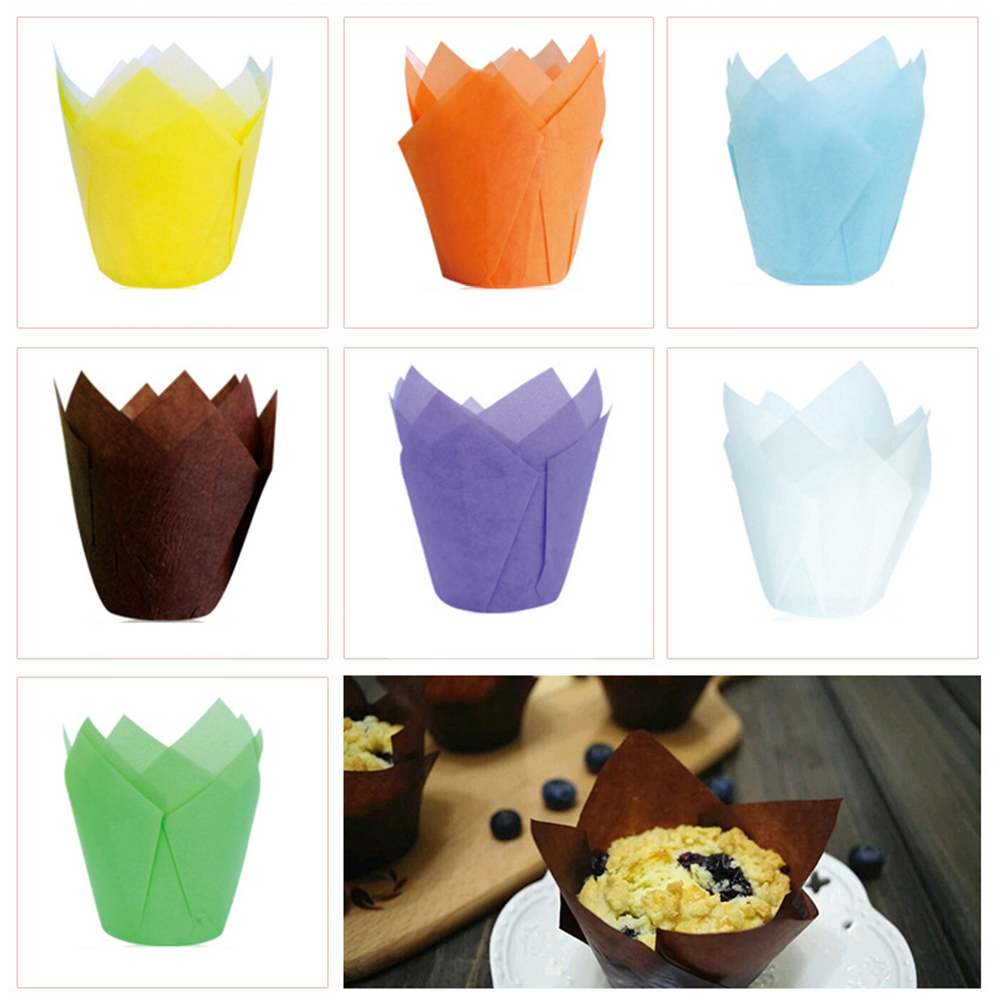 Urijk 50pcs/set Cake Decorating Tool Tulip Baking Paper Cups Cupcake Paper Stand Oil Proof Muffin Cup Wedding Party Supplies