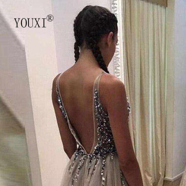 Beading Prom Dresses Long 2021 V Neck Light Gray High Split Tulle Sweep Train Sleeveless Evening Gown A-Line Backless Vestido De 4