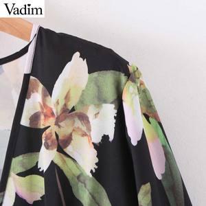 Image 3 - Vadim frauen retro floral print mini kleid v ausschnitt langarm zurück zipper weibliche vintage stilvolle kleider vestidos mujer QD195
