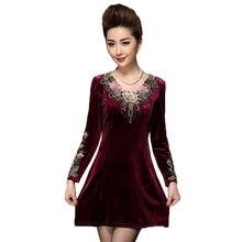 Plus size 7xl vestido de veludo de ouro feminino 2020 primavera outono vestido bordado de manga comprida meia-idade mãe vestido elegante w1754