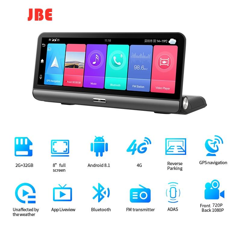 Cámara DVR para salpicadero de coche, Monitor remoto de visión nocturna, navegación GPS, ADAS, FHD, 1080P, 8 pulgadas, 4G, Android