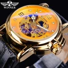 Золотые женские механические часы winner автоматические стразы