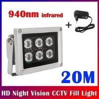 NEOCoolcam-Lámpara iluminadora IR de 20M, 940nm, CCTV, 6 LEDs, infrarroja, impermeable, visión nocturna para cámara de vigilancia CCTV