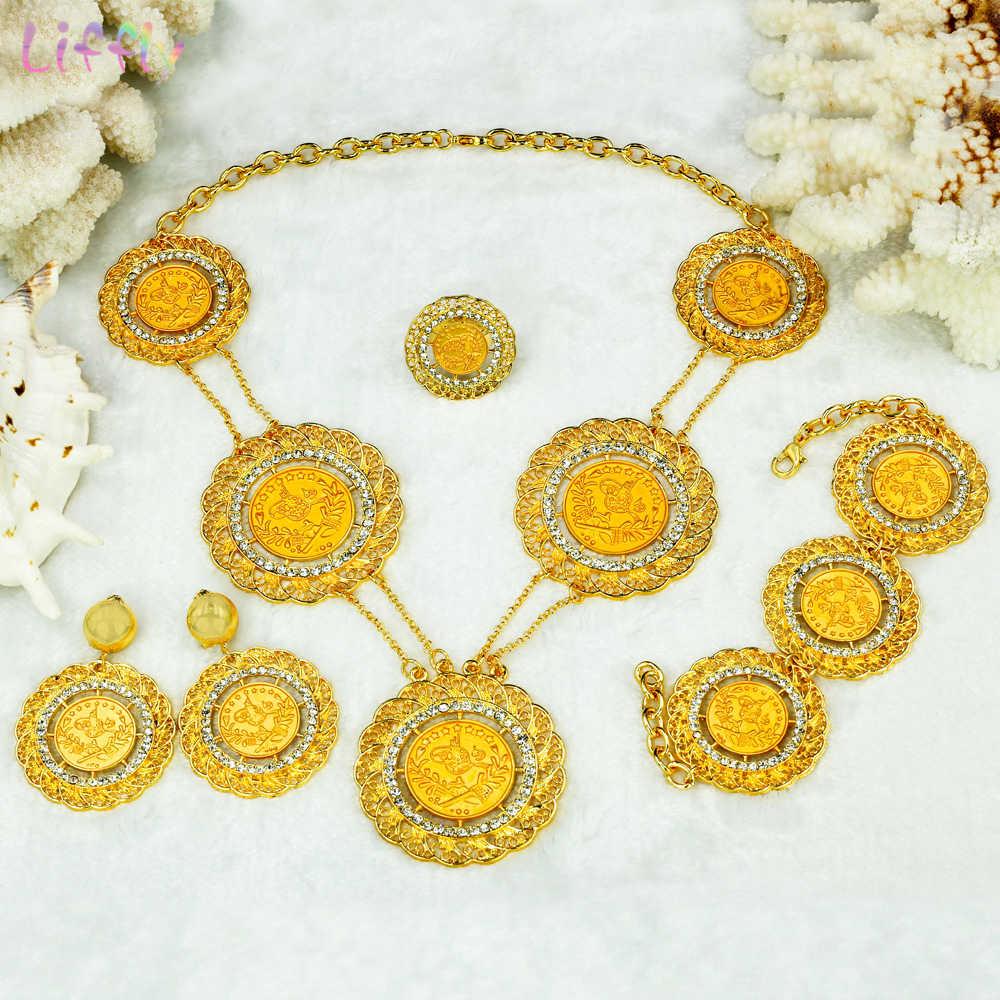 Liffly свадебный подарок ювелирные изделия из золота из Дубаи наборы для женщин Мода колье ожерелье нигерийская Свадьба большой африканский бисер ювелирный набор