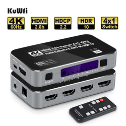 4K60Hz 4 Ports HDMI 2.0b Switch Switcher Box 4 in 1 Out with Optical 3.5mm Stereo Audio Out Remote Audio Extractor ARC HDCP 2.2
