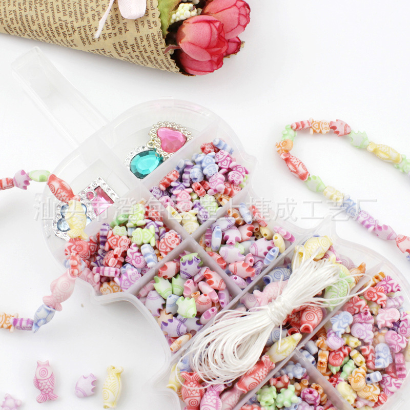 Children DIY Hand-made Toy GIRL'S Creative Early Childhood Educational Set Children Loose Beads Plastic Beads Box Accessories