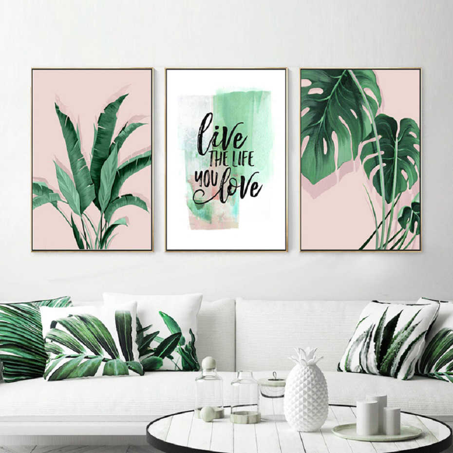 Green Tropical Leaves Monstera Leaf Palm Banana Live Quote Canvas Painting Poster Print Wall Art Pictures Living Room Home Decor Painting Calligraphy Aliexpress Ha estado redecorando y me pidió que pintara. green tropical leaves monstera leaf