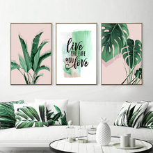 Green Tropical Leaves Monstera Leaf Palm Banana Live Quote Canvas Painting Poster Print Wall Art Pictures Living Room Home Decor