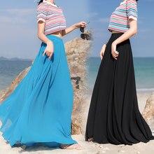Longue jupe trapèze plissée en mousseline de soie, style bohémien, extensible, taille haute, couleur unie, 0.6KG