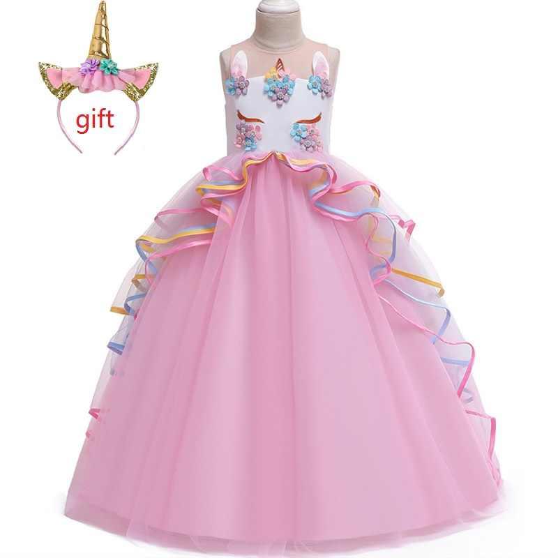 Подарок на Рождество; высококачественное детское платье для дня рождения, вечеринки, свадьбы; длинное платье с вышитой аппликацией в виде единорога для От 4 до 14 лет девочек