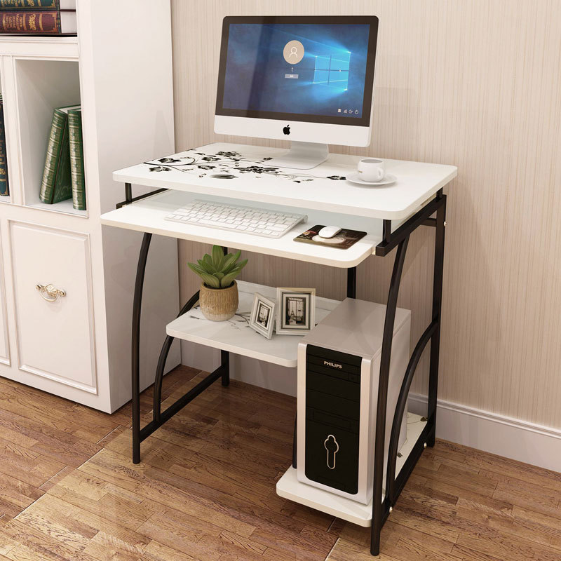 Desktop computer desk home art painted frosted piano widened countertop and thick steel pipe bedroom stylish and simple