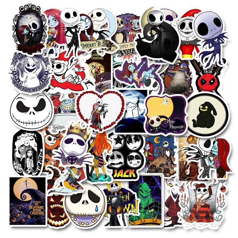 50pcs Halloween The Nightmare Before Christmas Jack Skellington Stickers Toys  Laptop Luggage Funny Laptop Phone Sticker Kids