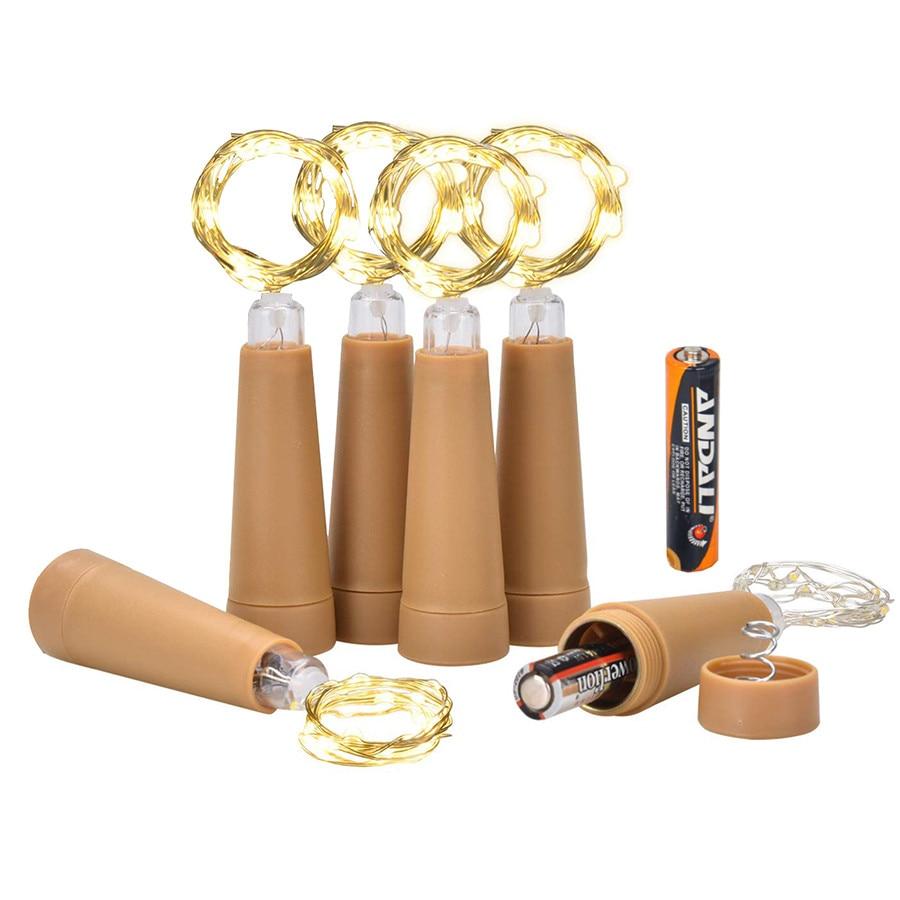 6PCS 10Leds  AAA Powered Copper Wire Bottle String Light Wine Bottle Cork Light DIY Xmas Wedding Party Garland Light