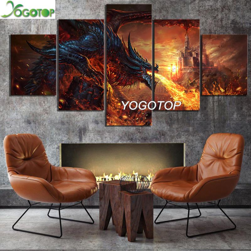 diy Diamond Painting puzzle Full Drill Mosaic Diamant Embroidery Home Decor Fantasy Art Paintings Fire Dragon 5 Pieces ML1168
