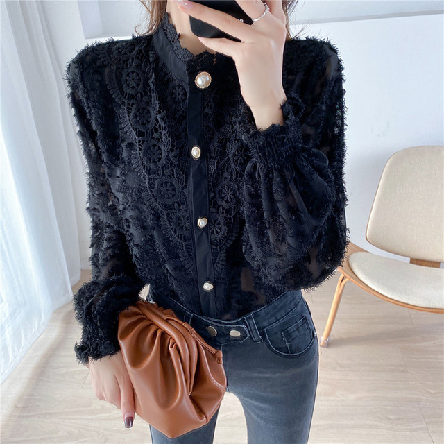 2020 Spring New Design Turtleneck Tops Women Blouses Long Sleeve Korean Style Temperament Office Lady Black Lace Vintage Shirt 5