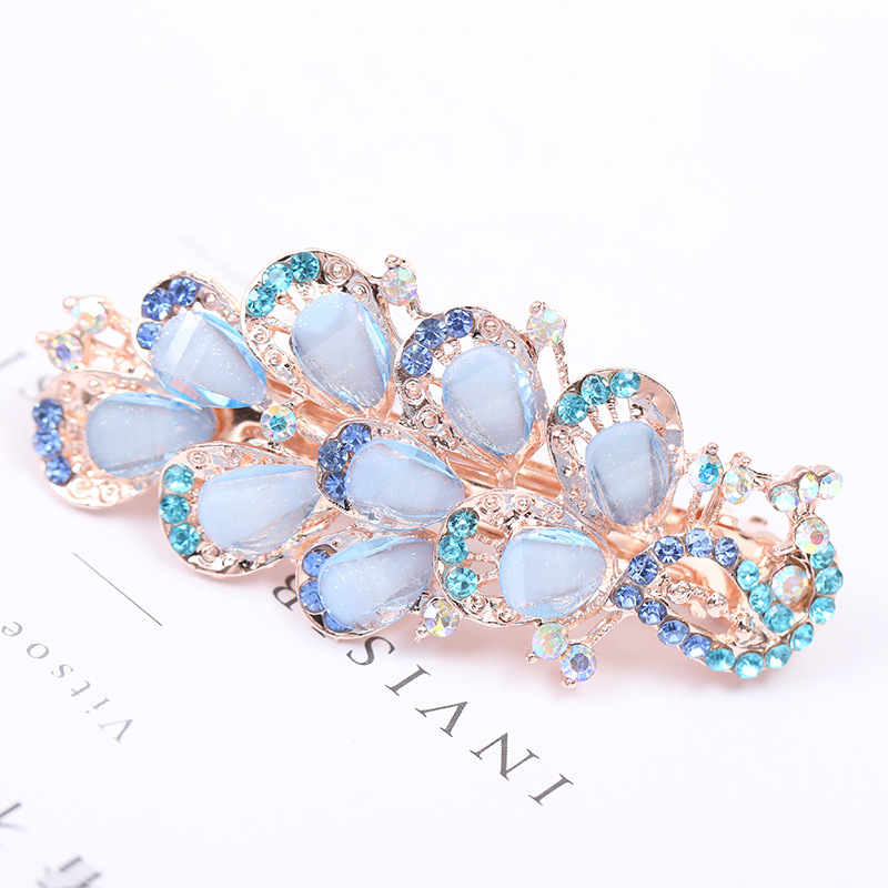 New Style Stylish Floral Crystal Korean-style Butterfly Ponytail Hairclip WOMEN'S Adult Spring Clip Headwear