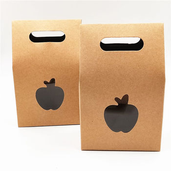 100pcs/Lot Cardboard Standing Kraft Paper Boxes With Transparent PVC Square Apple Window For Grand Event Macaron Bread Bag Boxes