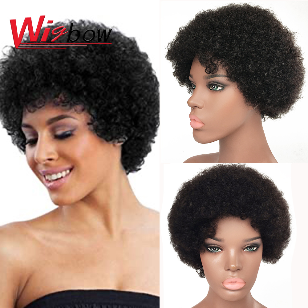 Afro Kinky Curly Wig Black Brazilian Remy Human Hair Cheap Short Wig For Women Human Hair Machine Made Wig With Free Shipping