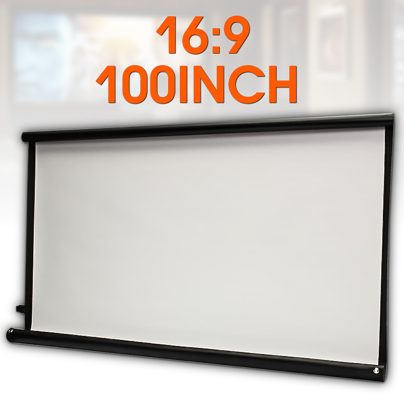Projection Screen Theatre Movie Canvas Foldable 100inch Home Front 16:9 High-Brightness title=