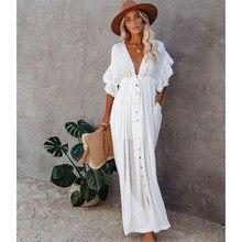 Witte Cover-Ups Bikini Cover Up Kaftan Vrouwen Lange Maxi Jurk Solid V-hals Dames Vakantie Jurk Gewaad Plage tuniek Vrouwen Beachwear