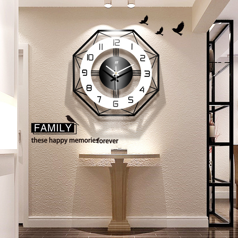 Nordic simple light luxury style home decoration wall clock, living room bedroom creative fashion clock