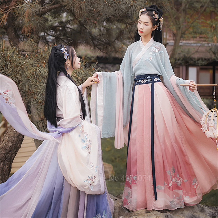 Hanfu Dress Ancient Chinese Costume Traditional Tang Dynasty Fairy Cosplay Folk Dress For Women Emboridery Festival Party Stage