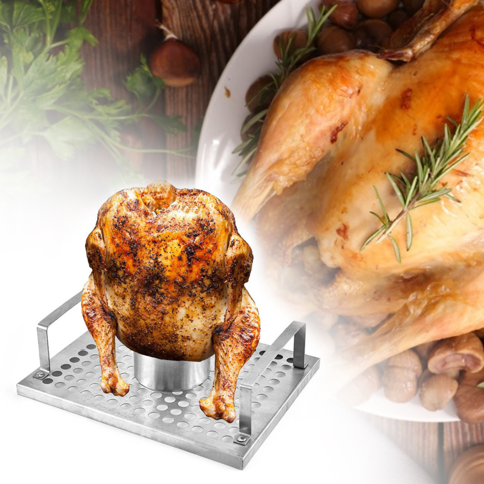 Beer Can Chicken Roaster Rack Stainless Steel BBQ Roasting Holder for Campin/_hg
