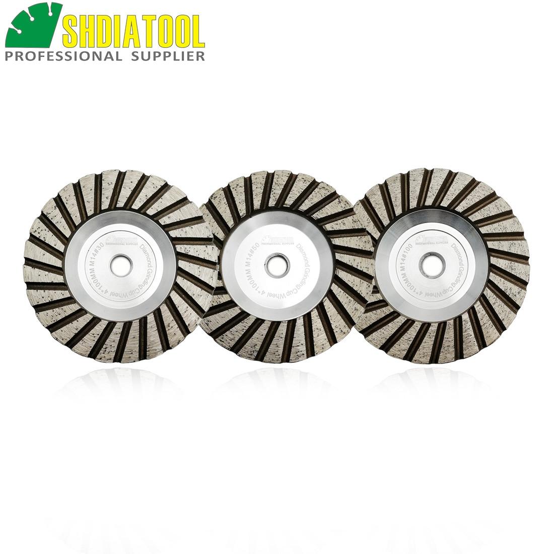 "SHDIATOOL 3pcs Dia 4""/100mm M14 Thread Aluminum Based Grinding Cup Wheel Grit #30+#50+#100 Granite Marble Grinding Wheel"