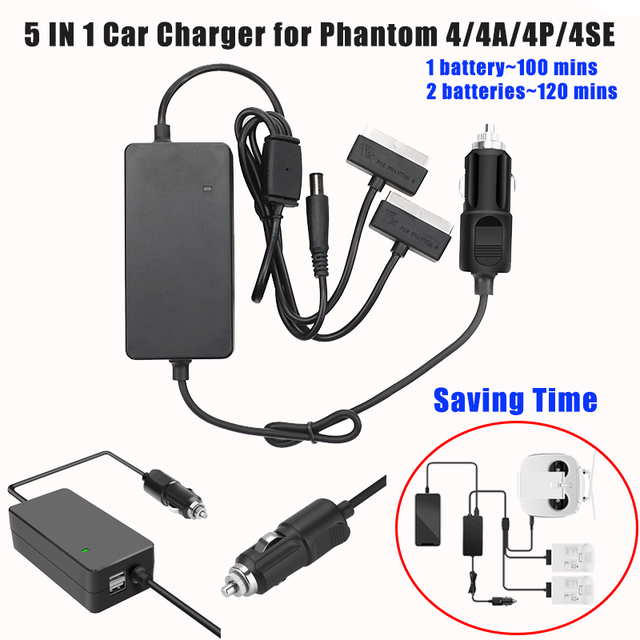 5 IN 1 Car Vehicle Charger Battery Remote Control Power Charger Outdoor Multi Charging Hub For DJI Phantom 4 4Pro 4Advance 4SE