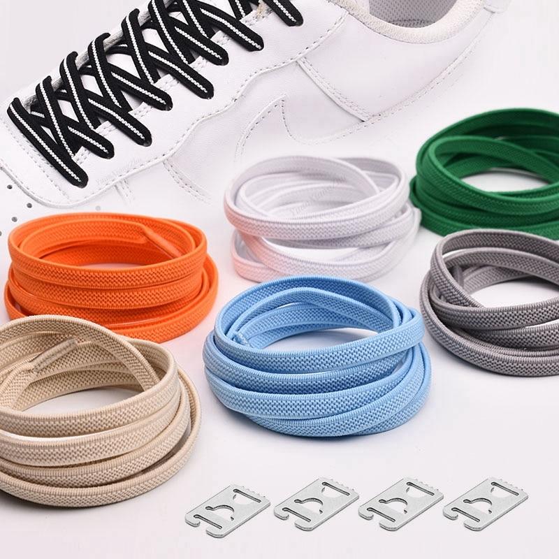 1Pair No Tie Shoelaces Elastic Shoelaces Kids Adult Quick Lazy Laces Flats Rubber Sneakers Running Shoelace 24 Colors