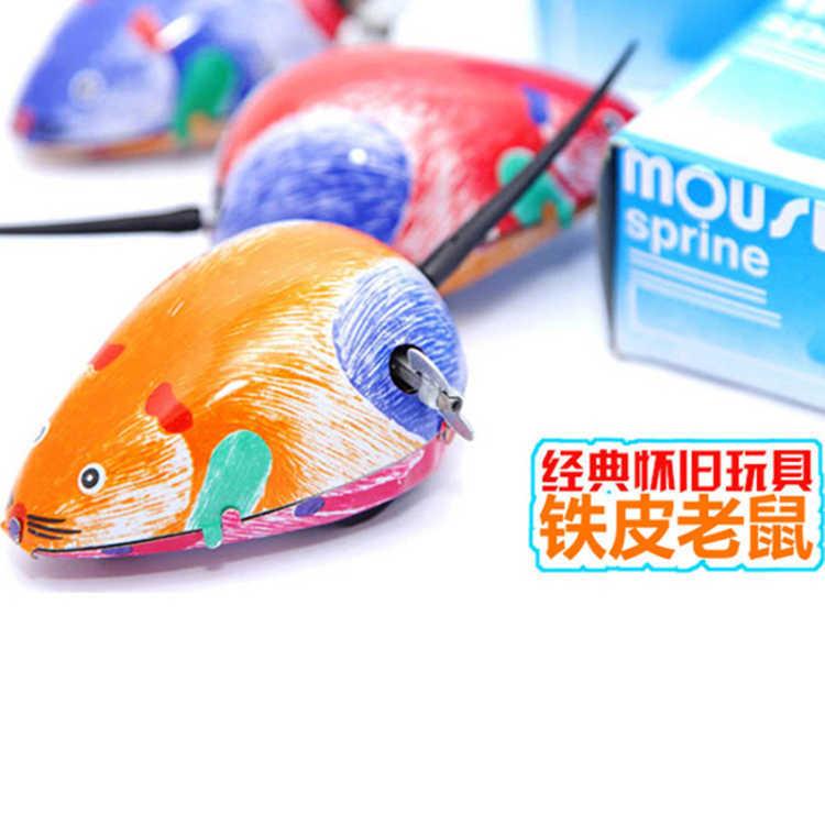 Nostalgia Spring 80 Classic Tin Toys Winding Frog Non-Mainland China Small Animal Jumping Run Mouse