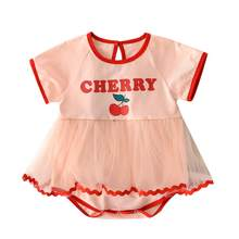 Zomer Pasgeboren Baby Baby Girl Print Cherry O-hals Backless Romper Tutu Jurk Bodusuit Voor 8-12 M Kinderen Outfit(China)