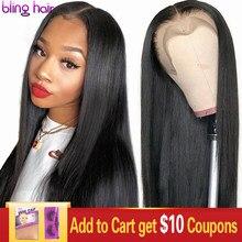 bling hair 180% Density Perruque Droite Perruque brésilienne Perruque Lace Closure 4x4 5x5 6x6 7x7 Cheveux Humains Perruque Lace Frontal longue perruque de cheveux remy