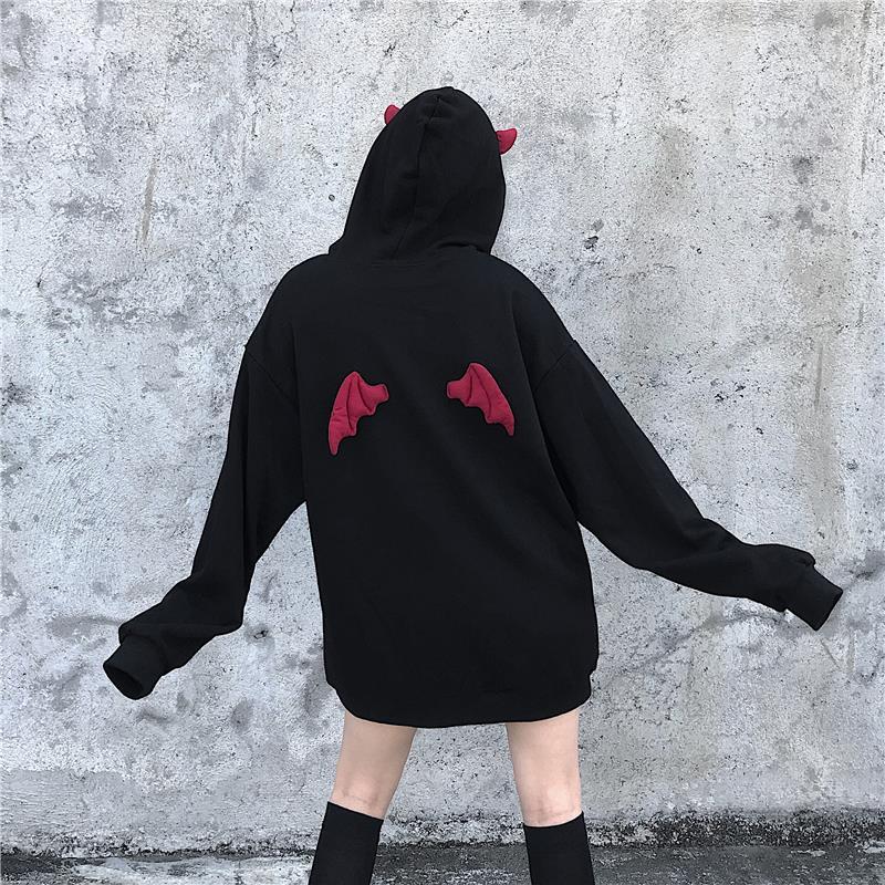 Bulletproof Boys Sweatshirt High Street Harajuku Cute Hoodie Gothic Punk Devil Horns Chic Hooded Pullover Loose Sweatshirt Women