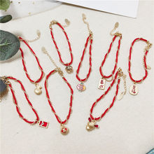 Women Men Chinese Ethnic New Year Knit Red Rope Bracelet Anklet Adjustable Cute Words Animal Fashion Jewelry Accessories-JQ-W14(China)