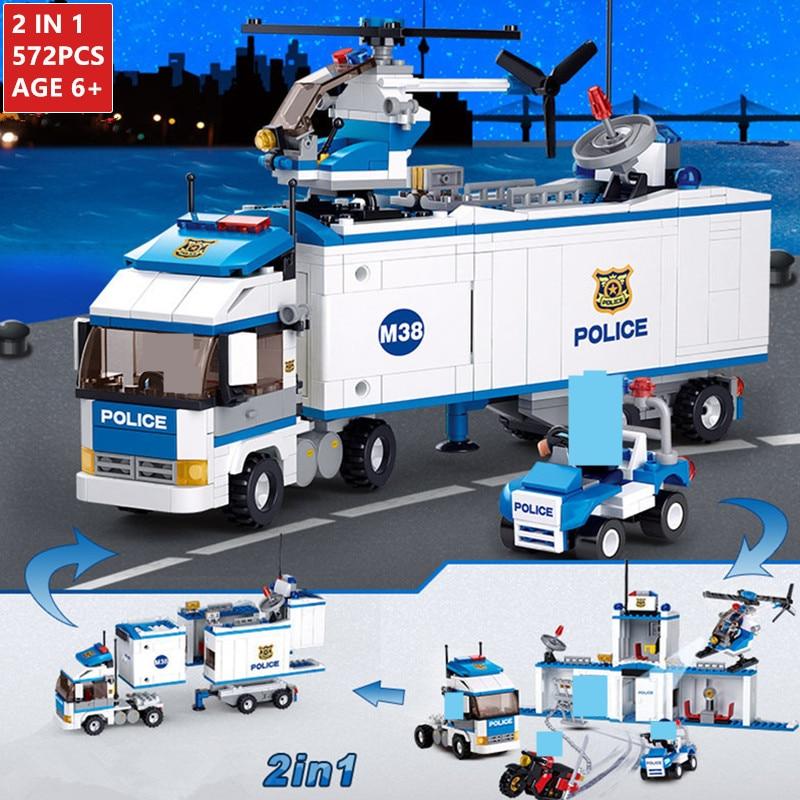 572Pcs 2 EM 1 Deformação Da Cidade Delegacia de polícia SWAT Caminhão Do Carro Blocos de Construção Define Tijolos Brinquedos Educativos para Childrenlegoinglys