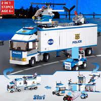 572Pcs 2 IN 1 City Deformation Police Station Car SWAT Truck Building Blocks Sets Bricks Educational Toys for Childrenlegoinglys