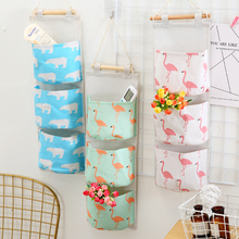 Bag Organizer Storage-Bag Wardrobe Hanging Wall-Pouch 3-Pockets Linen Cotton Cosmetic-Toys