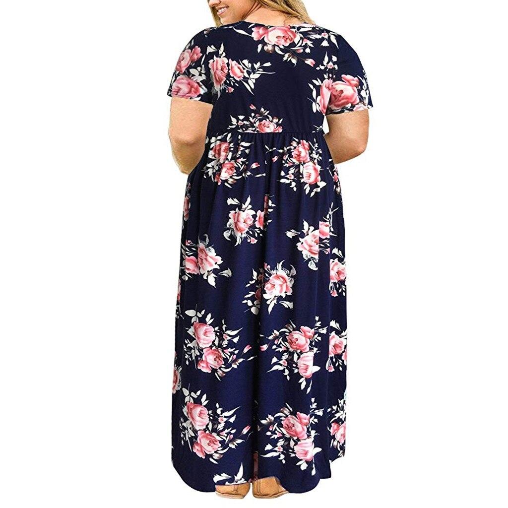 Women Plus Size Short Sleeve Printing Dress O neck Long Dress With Pockets Zomerjurk Dames