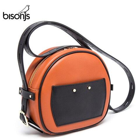 Couro de Vaca Bags para as Mulheres Bolsas de Ombro das Senhoras Bisonjs Crossbody Bolsa Redondo Redonda B1608 2020