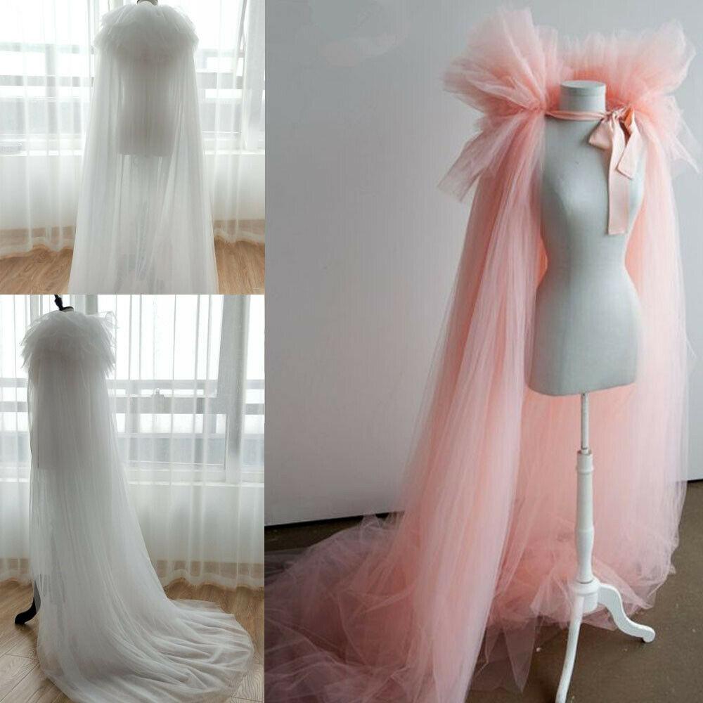 Unique Pink Bridal Cape Wedding Cloak Jacket Women Long Bolero Tulle Top Manteau