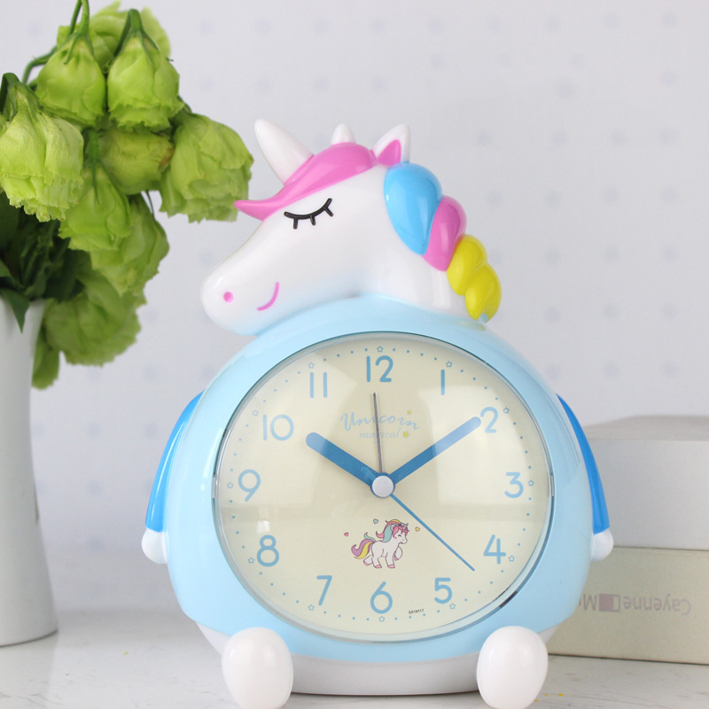 Children's Alarm Clock Bedroom 3D Decoration Cute Cartoon Alarm Clock Kids Birthday Gifts Bedside Table Clock for Baby Child image