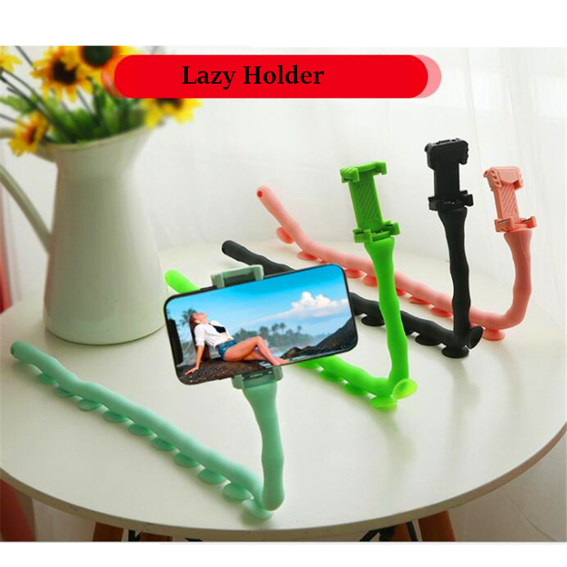 Rollable Lazy Bracket Mobile Phone Holder Cute Caterpillar Worm Flexible Phone Suction Cup Stand For Wall Desktop Bicycle