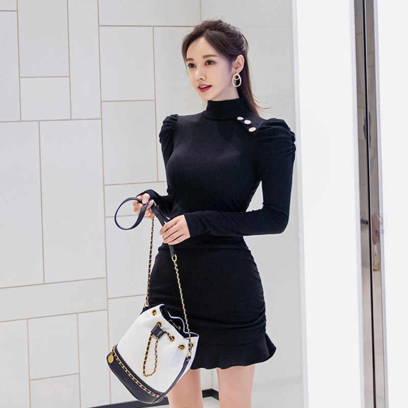 Kış puf uzun kollu kılıf katı yüksek yaka Mini Bodycon seksi Fishtail kulübü elbise