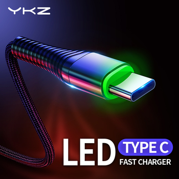 YKZ LED 3A USB Type C Cable Fast Charge Wire Type-C for Samsung Galaxy Xiaomi Huawei Mobile Phone USB C USB-C Cable Charger Cord 1