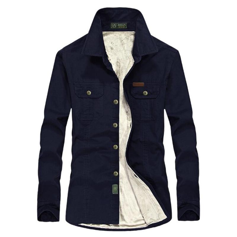 Autumn Winter Casual Solid Shirt Men Thick Warm Military Fleece Shirts Cotton Long Sleeves Shirt Men Camisa Social Masculina 7XL