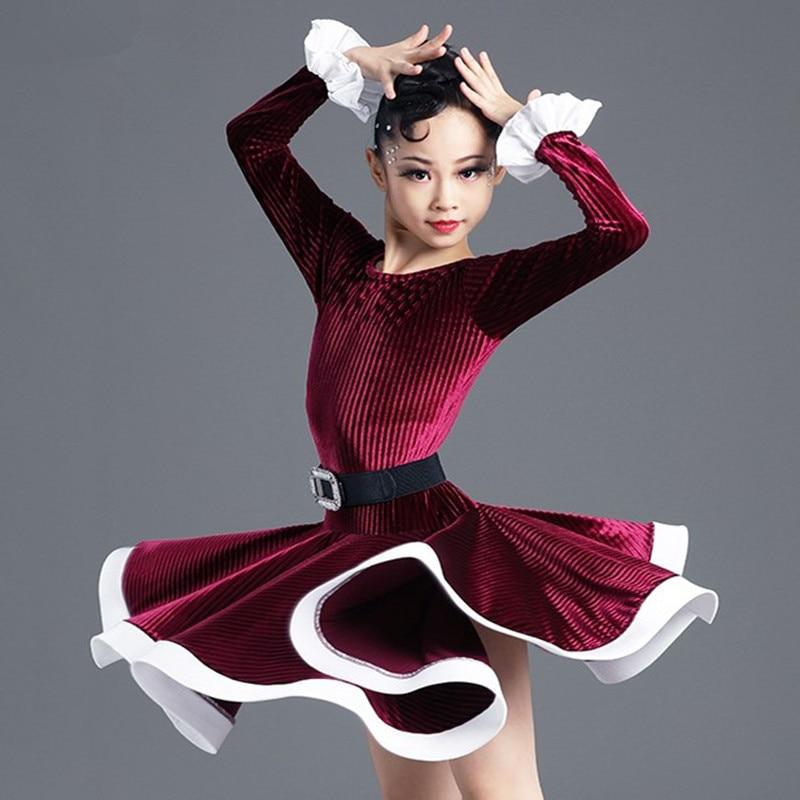 Velvet Modern Latin Dance Dress For Girls Competition Children Ballroom Samba Kids Long Sleeves Salsa Practice Wear Dancewear