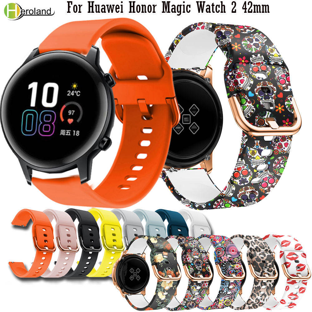 20mm Printing Silicone Watch Band For Huawei Honor Magic Watch 2 42mm / For Garmin Venu / For Garmin Move 3 Bracelet Band Strap